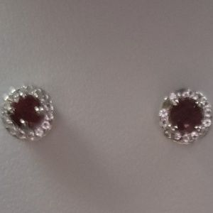 Sterling Silver Ruby and White Topaz Earrings